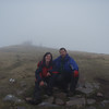 Jules & Jay atop Suilven - in mist.